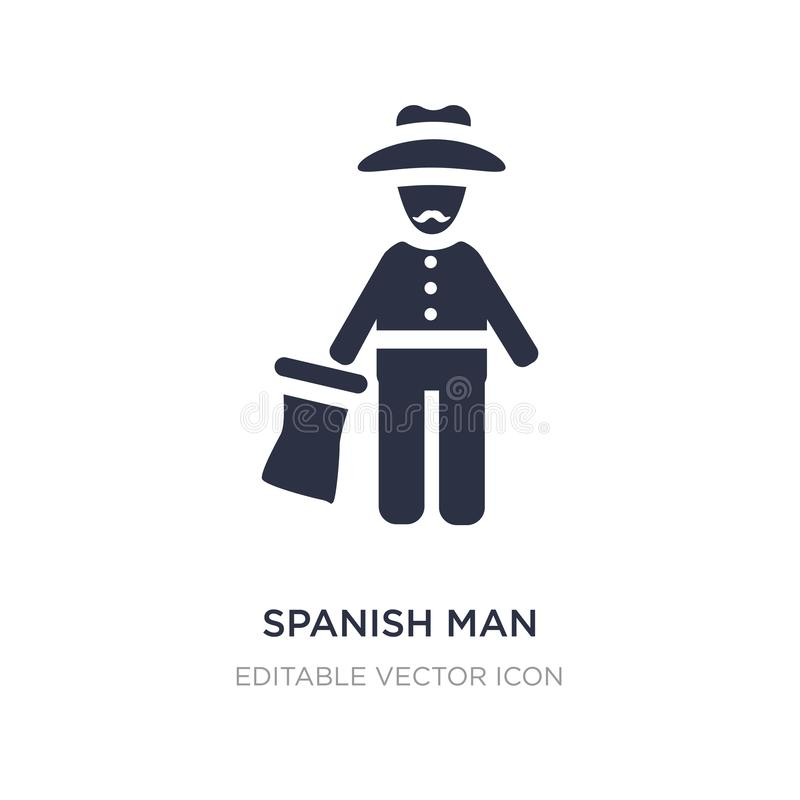 spanish man icon on white background. Simple element illustration from People concept stock illustration