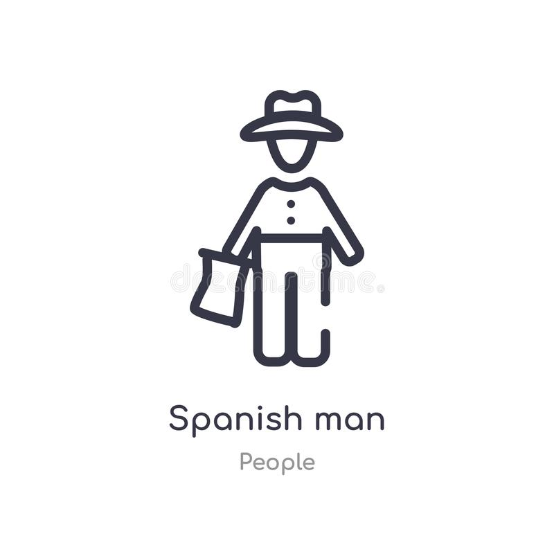 spanish man outline icon. isolated line vector illustration from people collection. editable thin stroke spanish man icon on white royalty free illustration