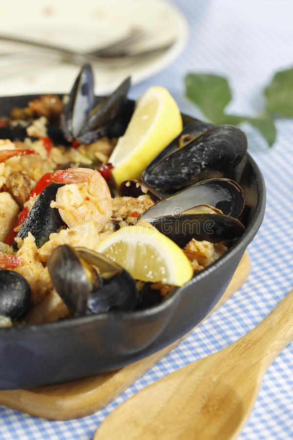 Spanish meal paella stock photo