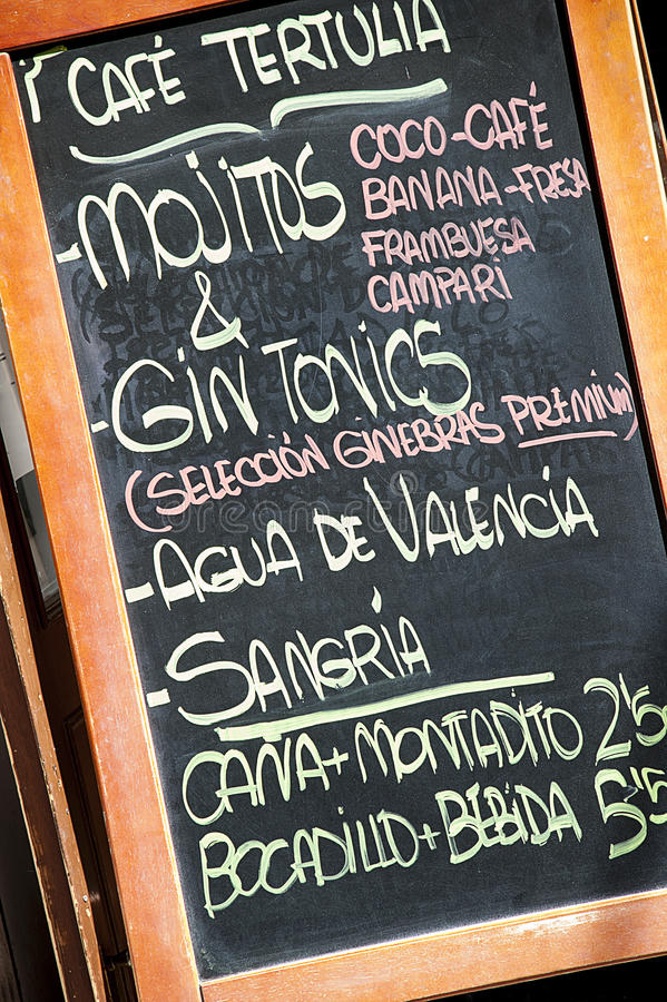 Spanish menu. Menu in traditional spanish restaurant - Valencia - Spain stock photography