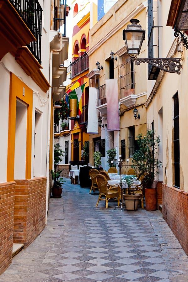Seville Fashion: Spanish Narrow Alley Stock Photo. Image Of Seville, Street