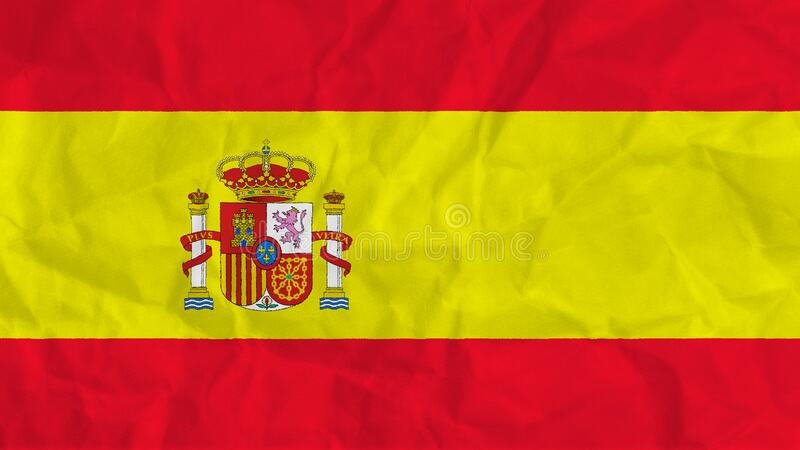 The Spanish national flag with a subtle creased fabric texture.  vector illustration