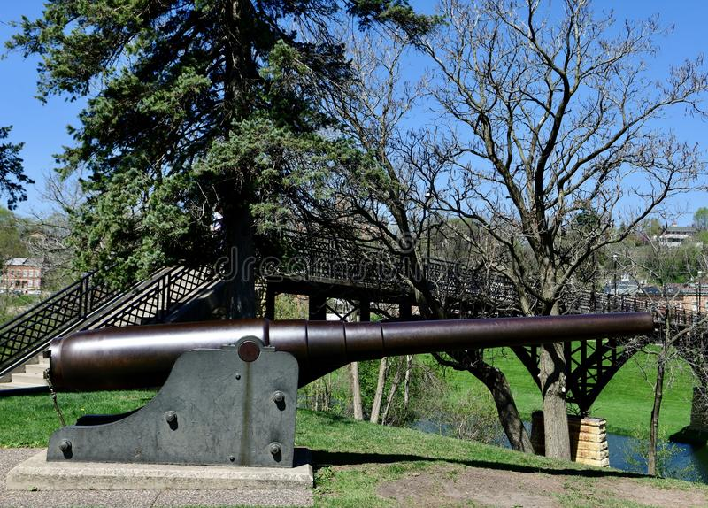 Spanish Naval Canon. This is a Spring picture of a Spanish Naval Canon on display at Grant Park located in Galena, Illinois in Jo Daviess County. This naval royalty free stock photography
