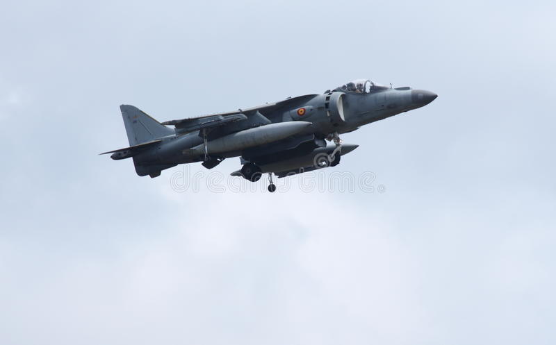 Spanish Navy McDonnell Douglas EAV-8B Harrier II. This is the Spanish Navys McDonnell Douglas EAV-8B Harrier II VA.1B-38/26 coming in to land after performing royalty free stock image