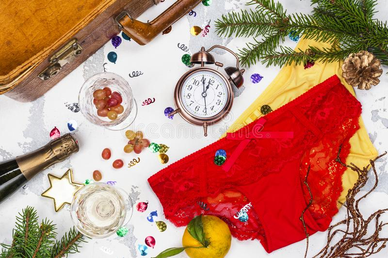 Spanish New Year traditions. Spanish speaking countries New Year traditions. Funny rituals in Spain, Mexico, Venezuela, Chili and Argentina. Top view stock images