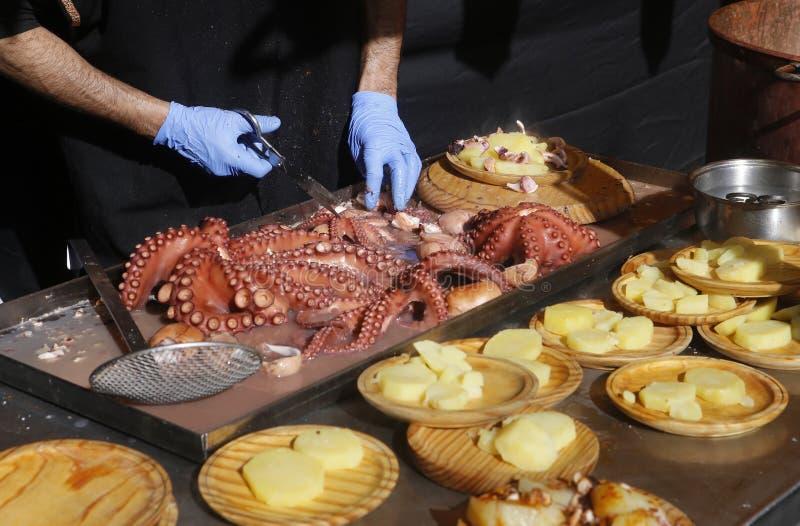 Spanish octopus plate stock photos