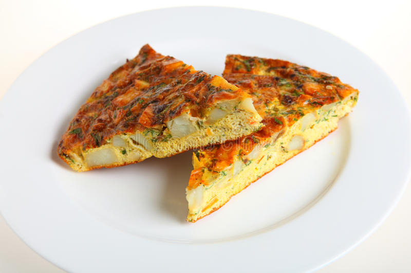 Spanish omelet or tortilla stock images