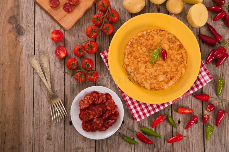 Spanish omelette. stock images