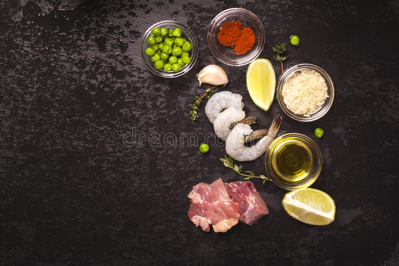 Spanish paella ingredients royalty free stock photos