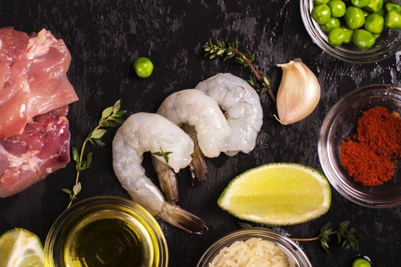 Spanish paella ingredients stock photography