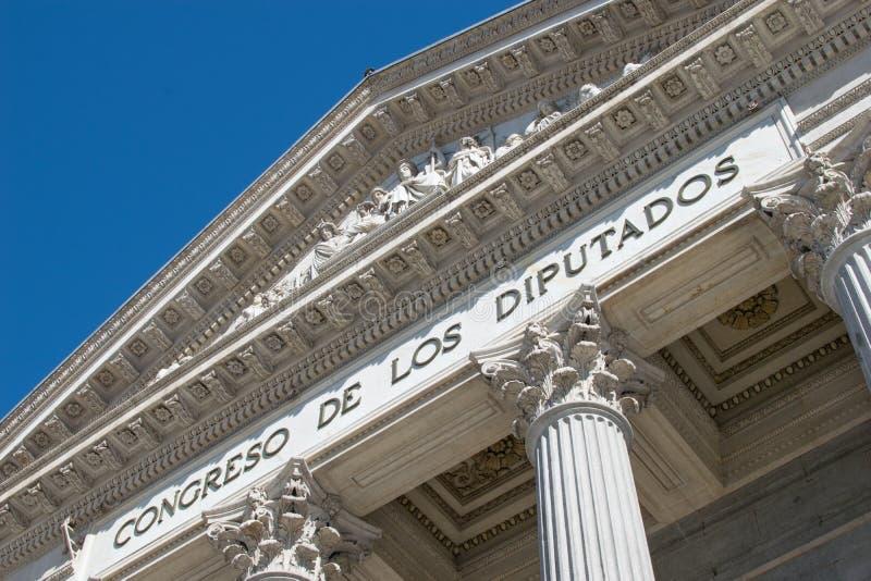 Congreso de los Diputados in Madrid 03 07 2019. Spanish Parliament building in Madrid. Detail of the facade. Congreso de los Diputados royalty free stock image