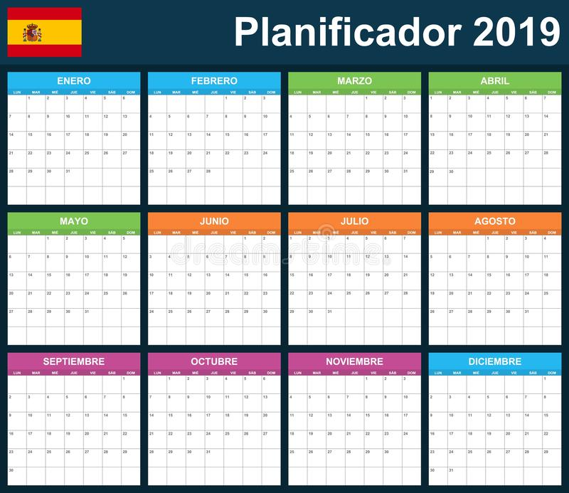 Spanish Planner blank for 2019. Scheduler, agenda or diary template. Week starts on Monday.  stock illustration