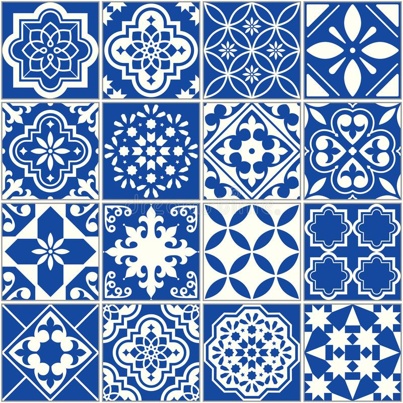 Spanish or Portuguese vector tile pattern, Lisbon floral mosaic, Mediterranean seamless navy blue ornament vector illustration