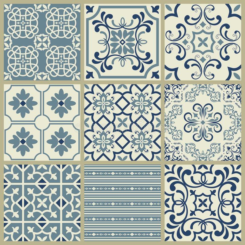 Lisbon geometric Azulejo tile vector pattern, Portuguese or Spanish retro old tiles mosaic, Mediterranean seamless navy blue desig vector illustration
