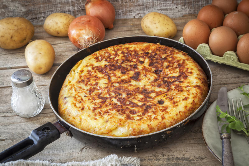 Spanish potato omelet stock images