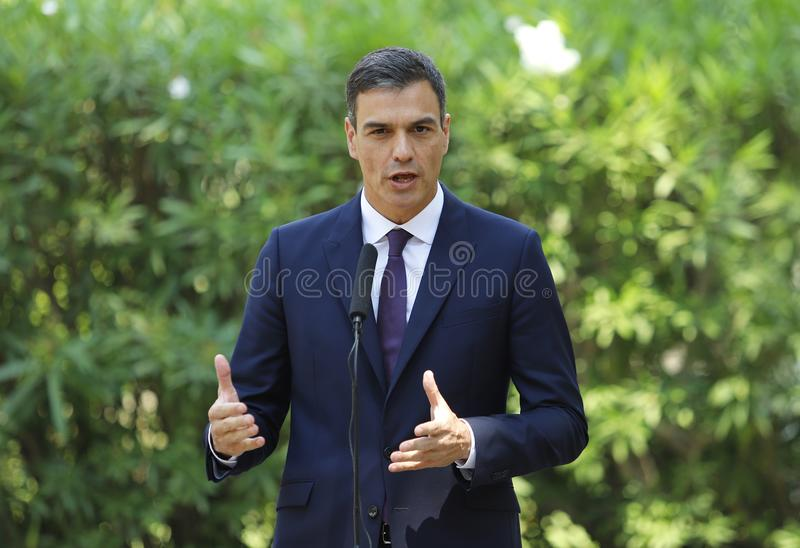 Spanish prime minister Pedro Sanchez gesturing. Spain Prime Minister Pedro Sanchez gesture during a press comference in Marivent palace gardens stock images