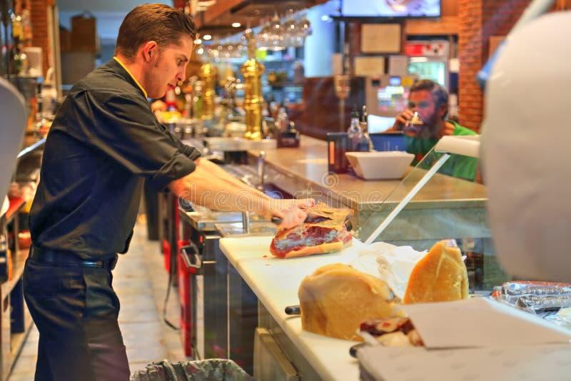 Spanish restaurant serving food in Granada stock photos