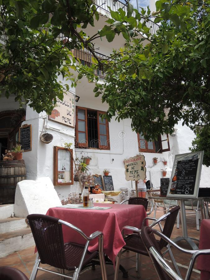 Spanish restaurant in a white village in the region of Andalusia stock photo
