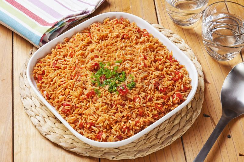 Spanish Rice Mexican Accompaniment. Spanish rice, perfect accompaniment for all Mexican dishes, topped with green chilli stock image