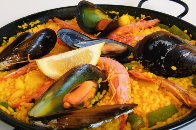 Spanish rice: paella stock image
