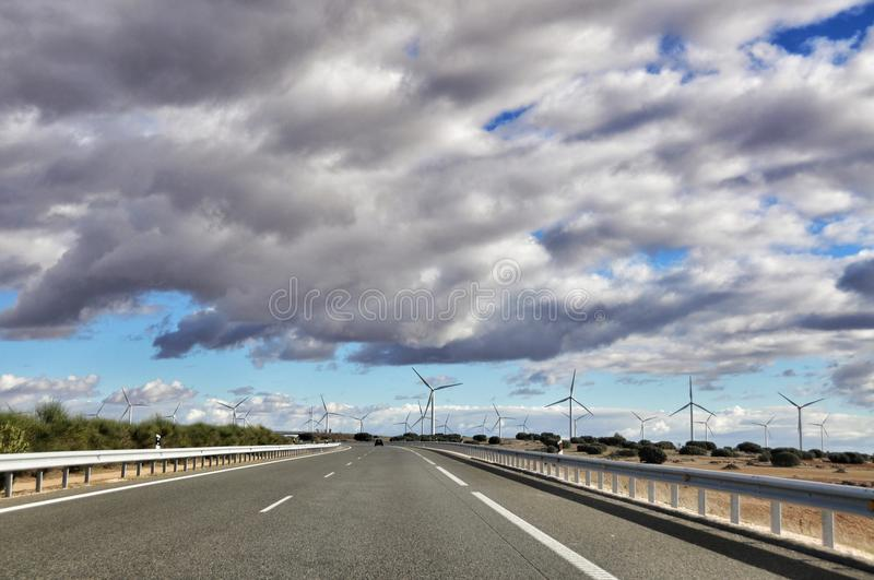 Spanish roads and wind mills. Spanish roads and windmills is in the province of Valencia, Catalonia stock image