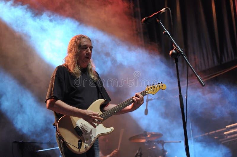 Spanish rock singer Rosendo. GIJON, SPAIN - JUNE 30: Spanish rock singer Rosendo with more than 40 years on stage in June 30, 2015 in Gijon, Spain. Concert in stock image