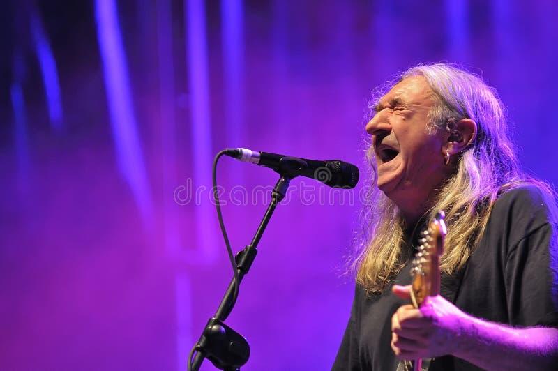 Spanish rock singer Rosendo. GIJON, SPAIN - JUNE 30: Spanish rock singer Rosendo with more than 40 years on stage in June 30, 2015 in Gijon, Spain. Concert in royalty free stock images