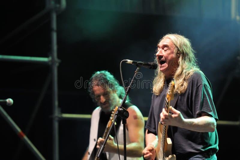 Spanish rock singer Rosendo. GIJON, SPAIN - JUNE 30: Spanish rock singer Rosendo with more than 40 years on stage in June 30, 2015 in Gijon, Spain. Concert in royalty free stock photography