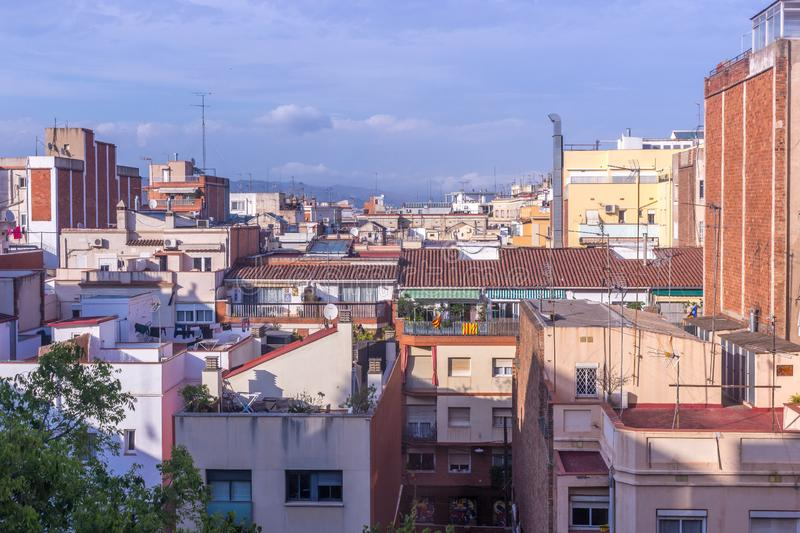 Spanish roofs, evening Barcelona stock images