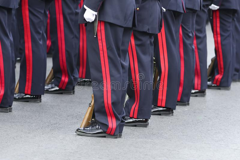 Spanish Royal Guard soldiers at attention stock images