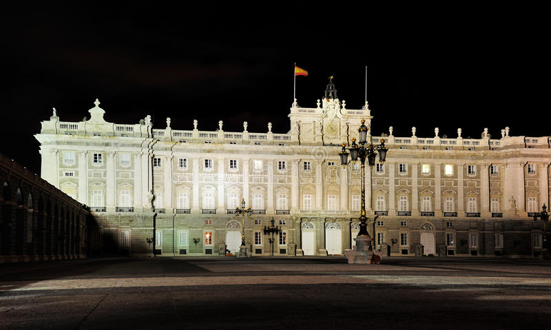Spanish Royal Palace by Night, Madrid royalty free stock photography