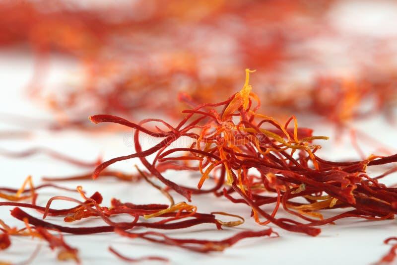 Spanish saffron treads super macro shot stock photo