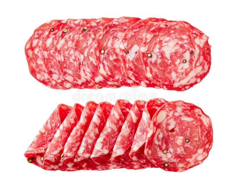 Spanish salchichon, Salami sausage, top ivew stock photography