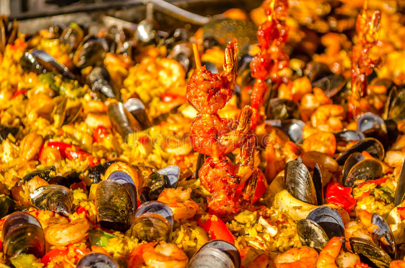 Spanish seafood paella. Typical spanish seafood paella stock photos