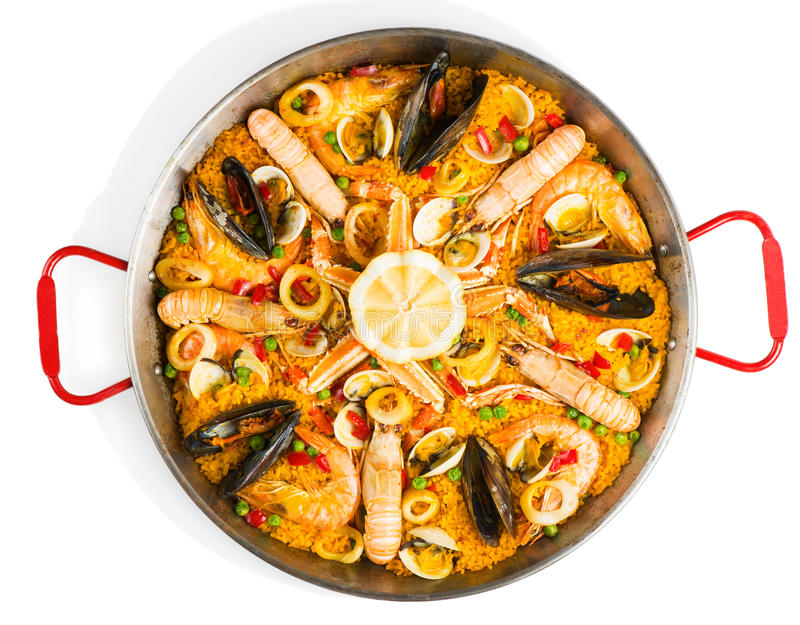 Spanish seafood paella, view from above royalty free stock image