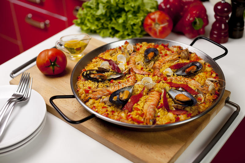 Spanish seafood rice paella royalty free stock photography