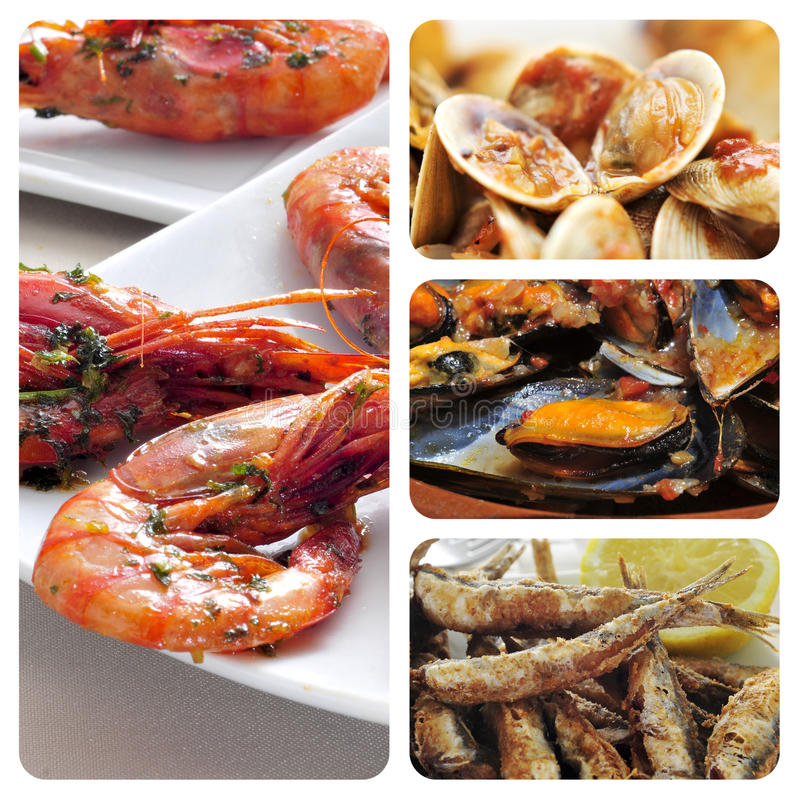 Spanish seafood tapas collage stock images