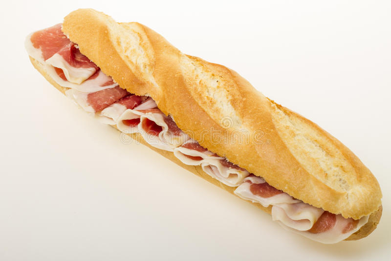 Spanish serrano ham sandwich stock images