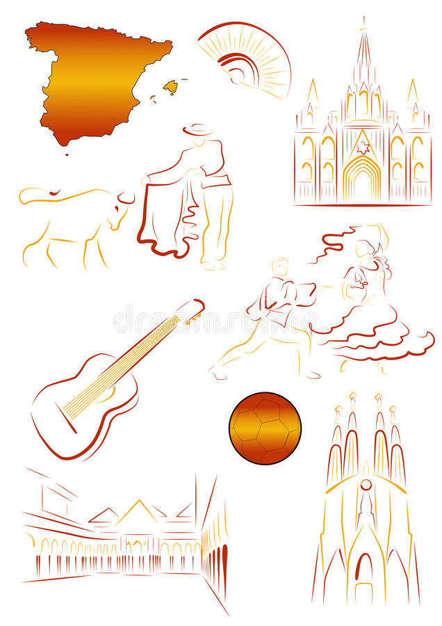 Download Spanish sights and symbols stock vector. Image of spain - 18369608