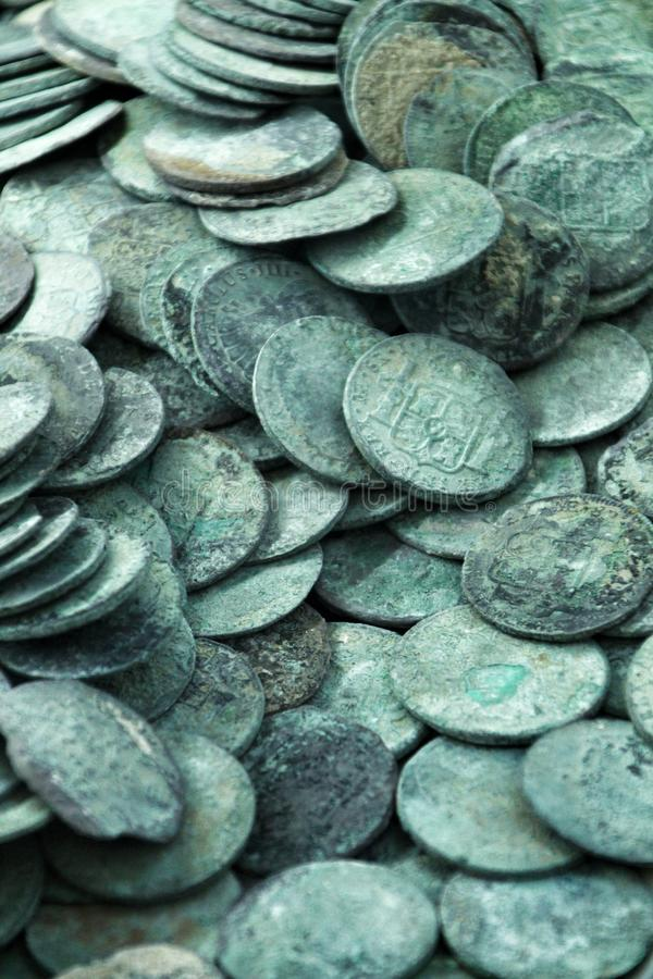 Spanish Silver coins recovered from the ocean floor royalty free stock photography