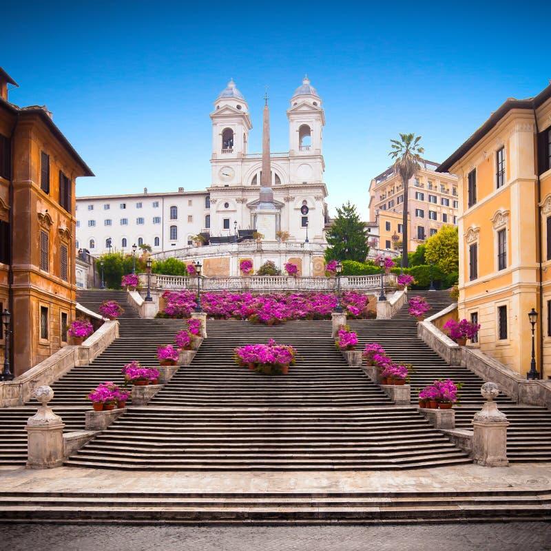 Spanish steps at dusk, Rome, Italy, Europe. Spanish steps with azaleas at sunrise, Rome, Italy, Europe royalty free stock image