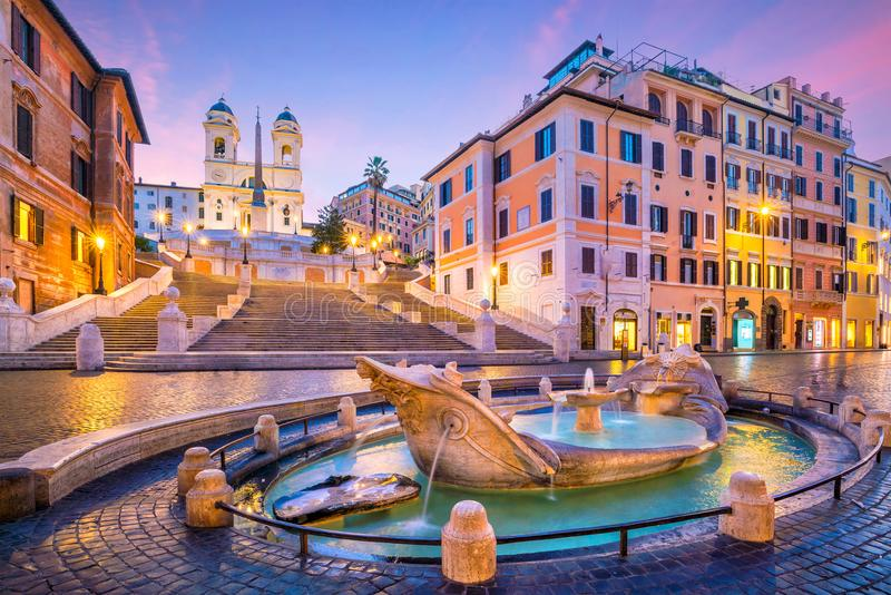 Spanish Steps in the morning, Rome. Italy at twilight royalty free stock photos