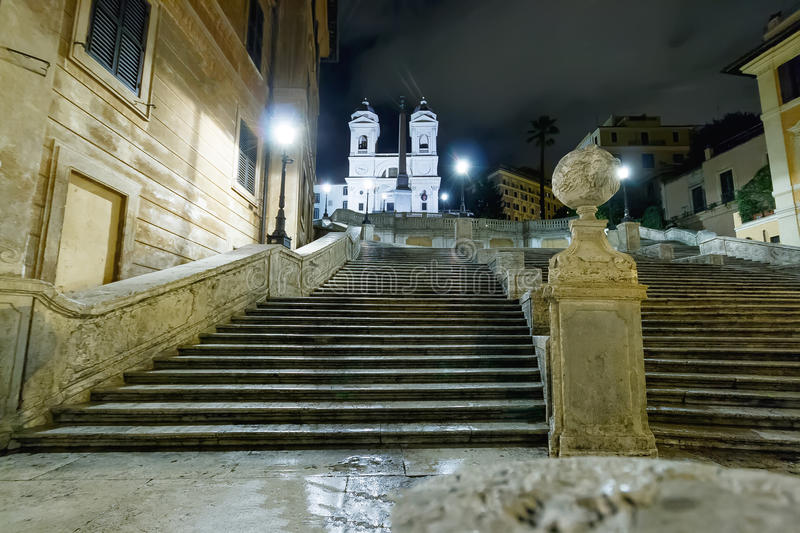 The spanish steps at the night. Photo of the night view of spanish steps royalty free stock photos