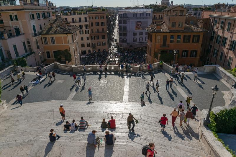 Spanish steps and Piazza di Spagna with Rome streets, view from above. Rome, Italy - September 20, 2013: Spanish steps and Piazza di Spagna with Rome streets stock photos