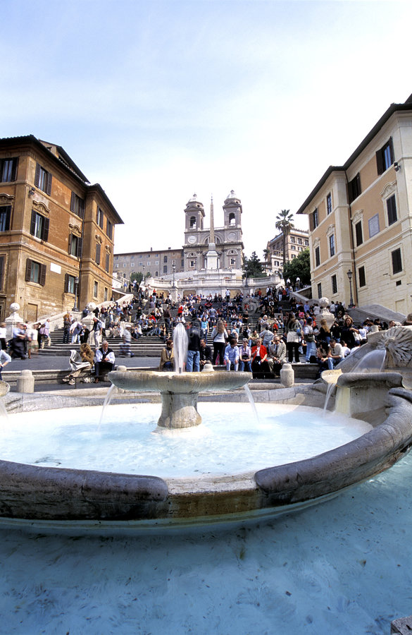 Spanish Steps - Rome. A place to hang out, The Spanish Steps in Rome, Piazza di Spagna royalty free stock photography