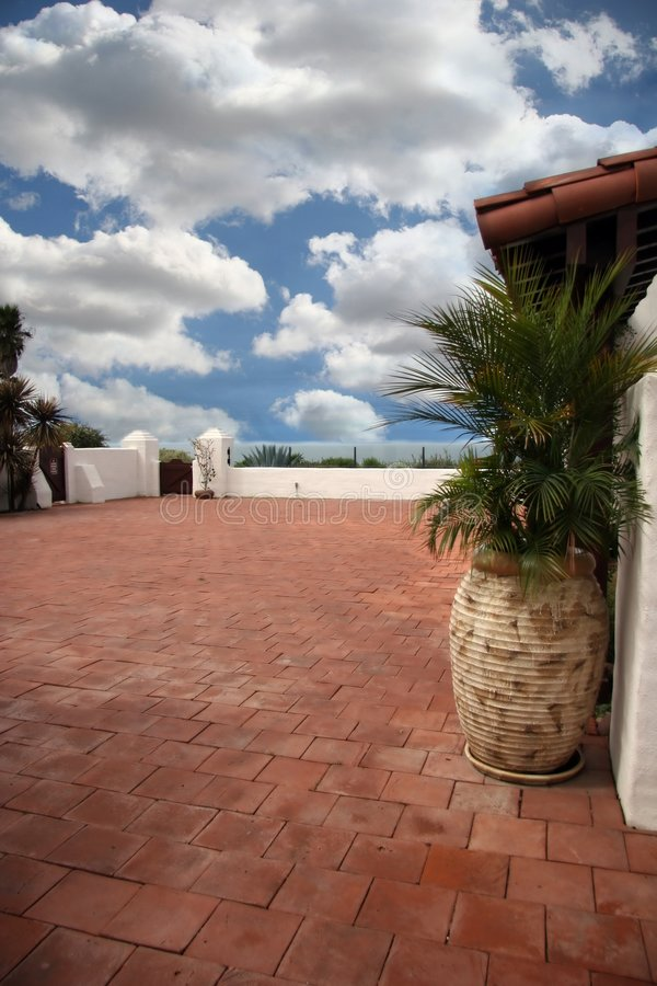 Download Spanish Style Patio Overlooking The Beach Stock Image - Image: 730117
