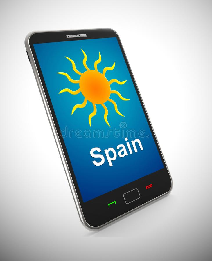 Spanish sun mobile phone representing tourism and vacations in Spain - 3d illustration stock illustration