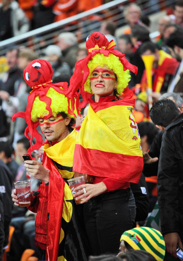 Spanish supporters wearing costumes with octopus royalty free stock photo