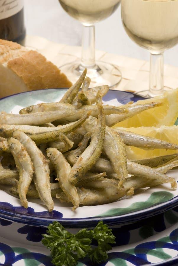 Spanish Tapas. Deep-fried Seafood. Royalty Free Stock Image