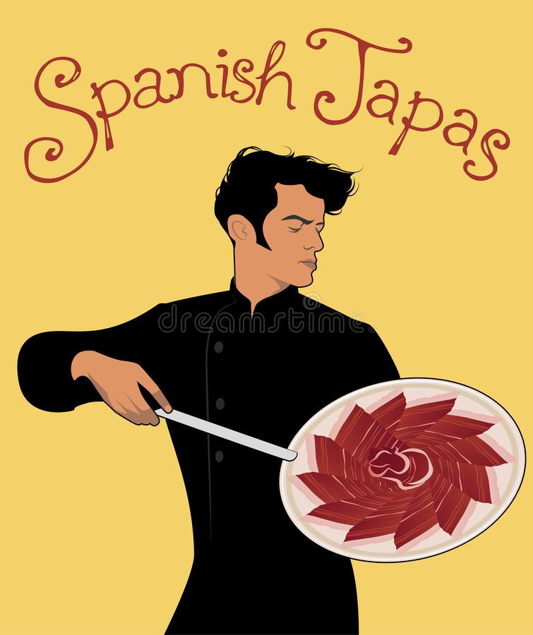 Spanish Tapas. Handsome Spanish chef holding a knife and showing a delicious dish of Iberian Ham. Handwritten text stock illustration